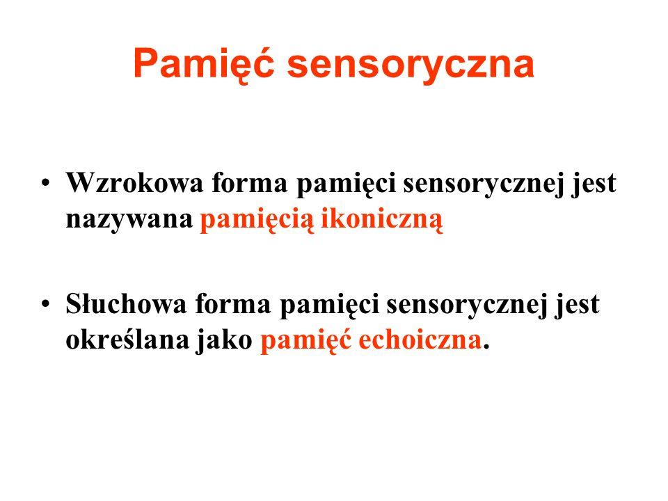 Pamięć sensoryczna Wzrokowa forma pamięci sensorycznej jest nazywana pamięcią ikoniczną.
