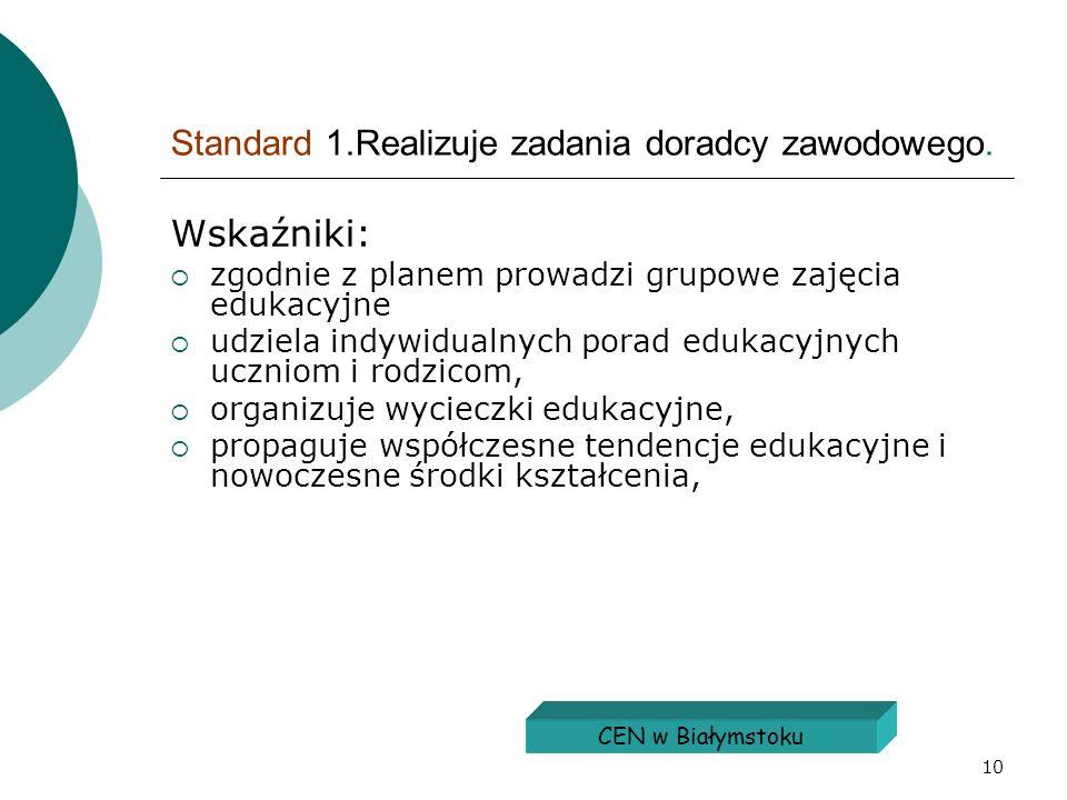 Standard 1.Realizuje zadania doradcy zawodowego.