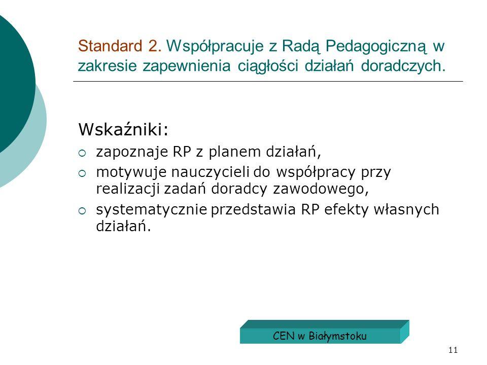 Standard 2. Współpracuje z Radą Pedagogiczną w zakresie zapewnienia ciągłości działań doradczych.