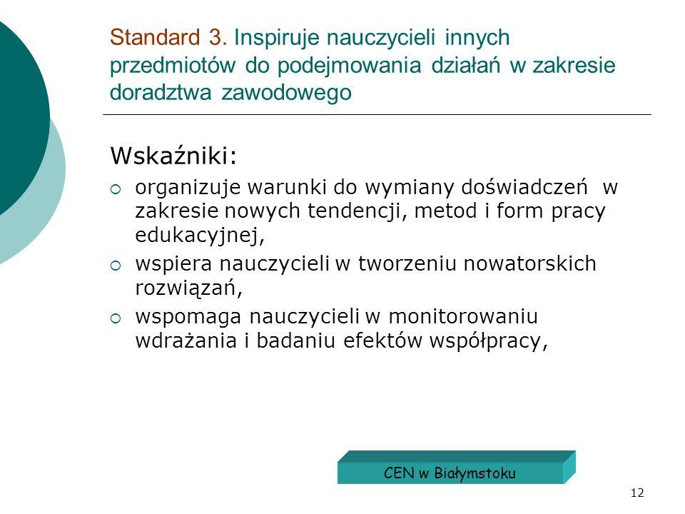 Standard 3. Inspiruje nauczycieli innych przedmiotów do podejmowania działań w zakresie doradztwa zawodowego