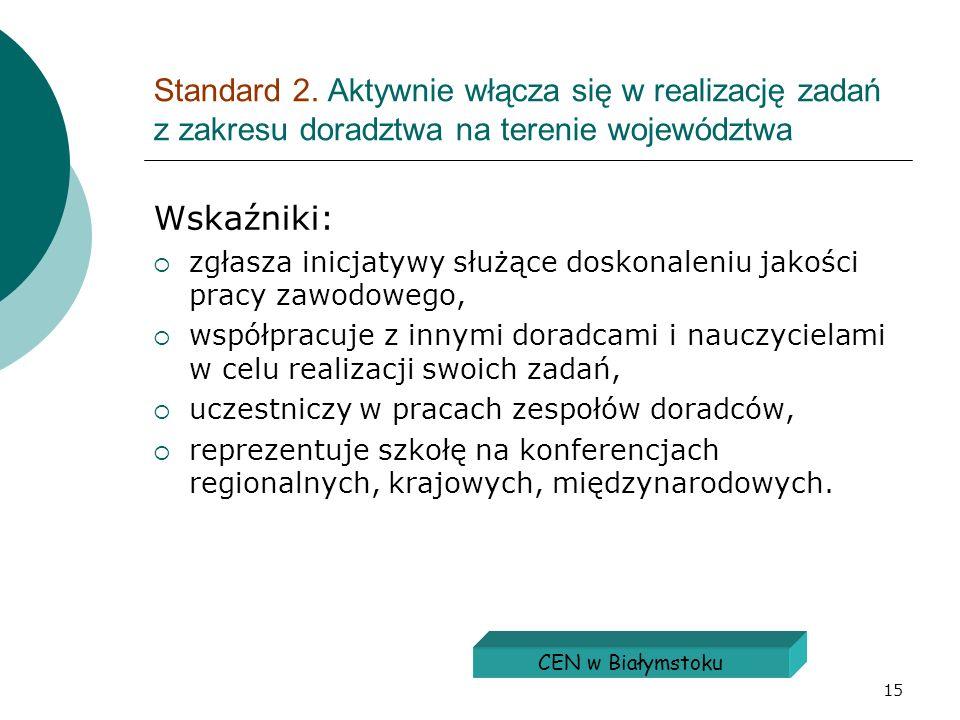Standard 2. Aktywnie włącza się w realizację zadań z zakresu doradztwa na terenie województwa