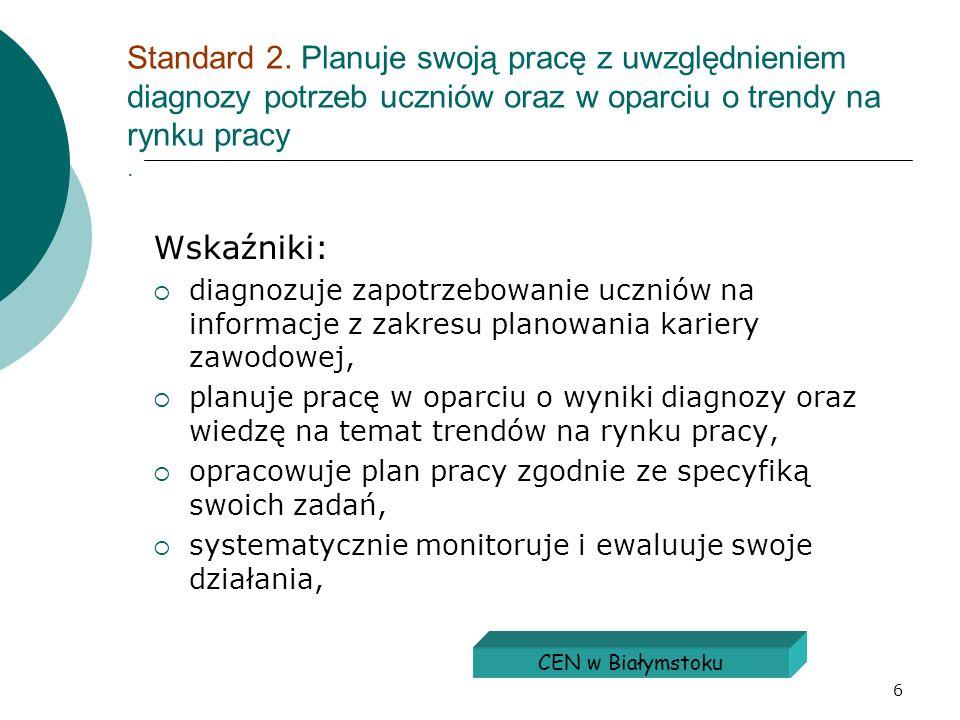 Standard 2. Planuje swoją pracę z uwzględnieniem diagnozy potrzeb uczniów oraz w oparciu o trendy na rynku pracy .
