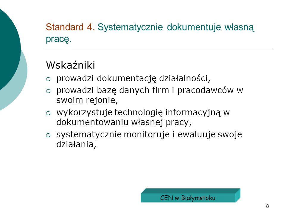 Standard 4. Systematycznie dokumentuje własną pracę.