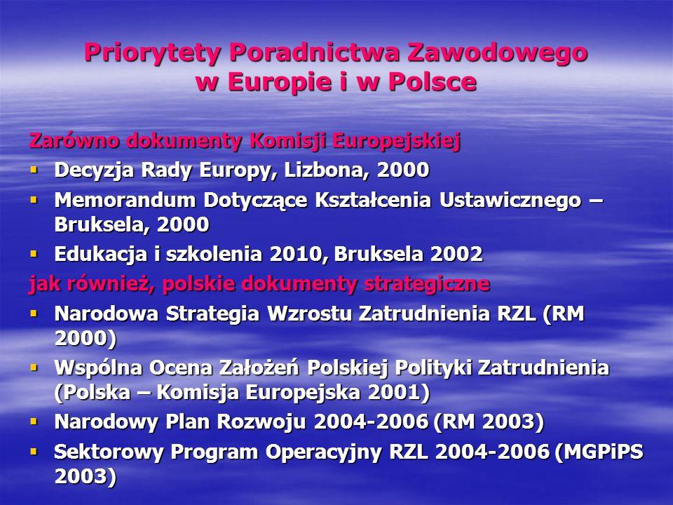 Priorytety Poradnictwa Zawodowego w Europie i w Polsce