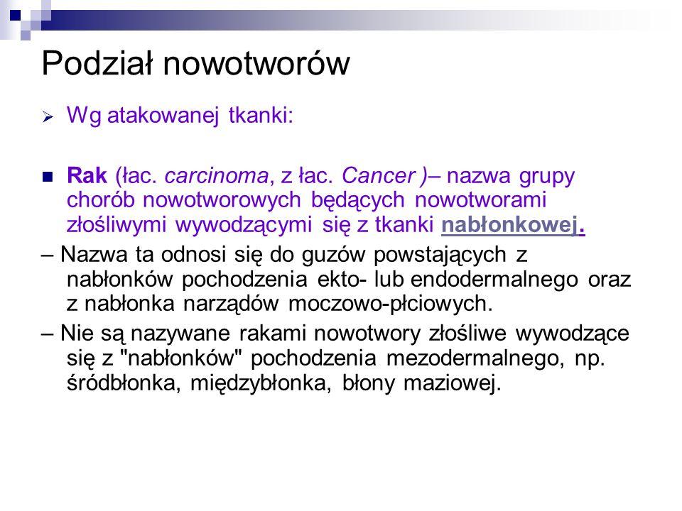 Podział nowotworów Wg atakowanej tkanki: