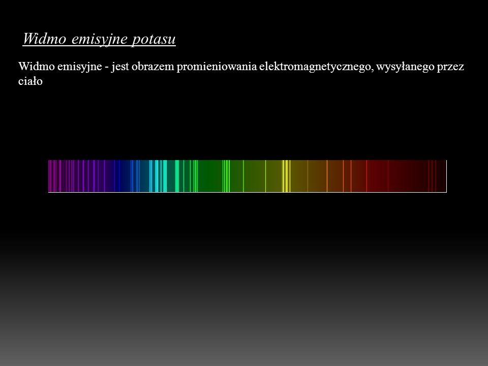 Widmo emisyjne potasu Widmo emisyjne - jest obrazem promieniowania elektromagnetycznego, wysyłanego przez ciało.