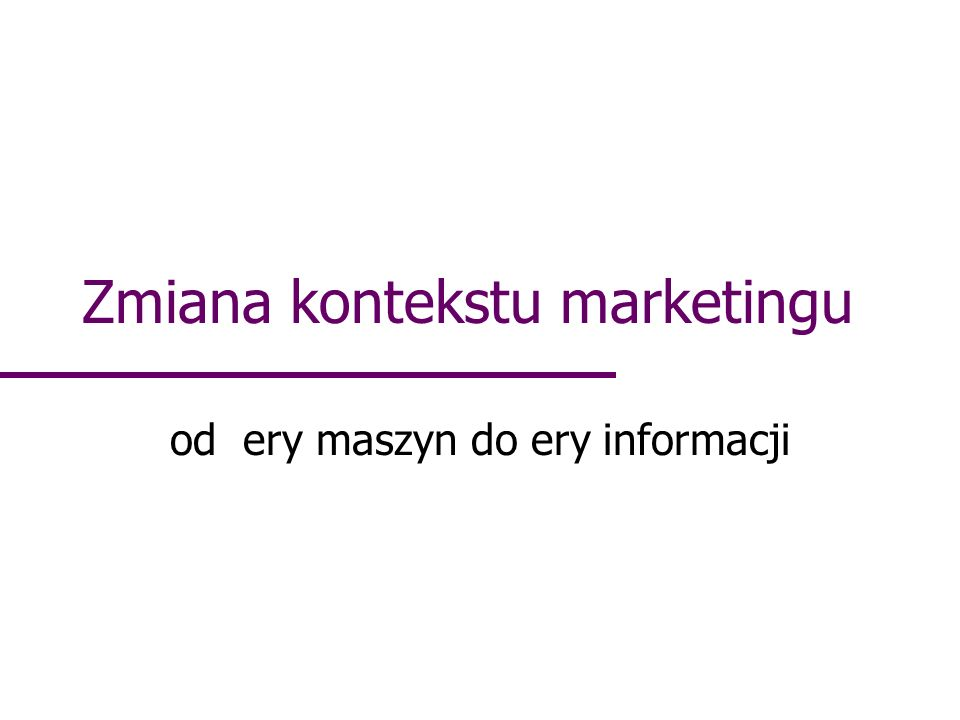 Zmiana kontekstu marketingu