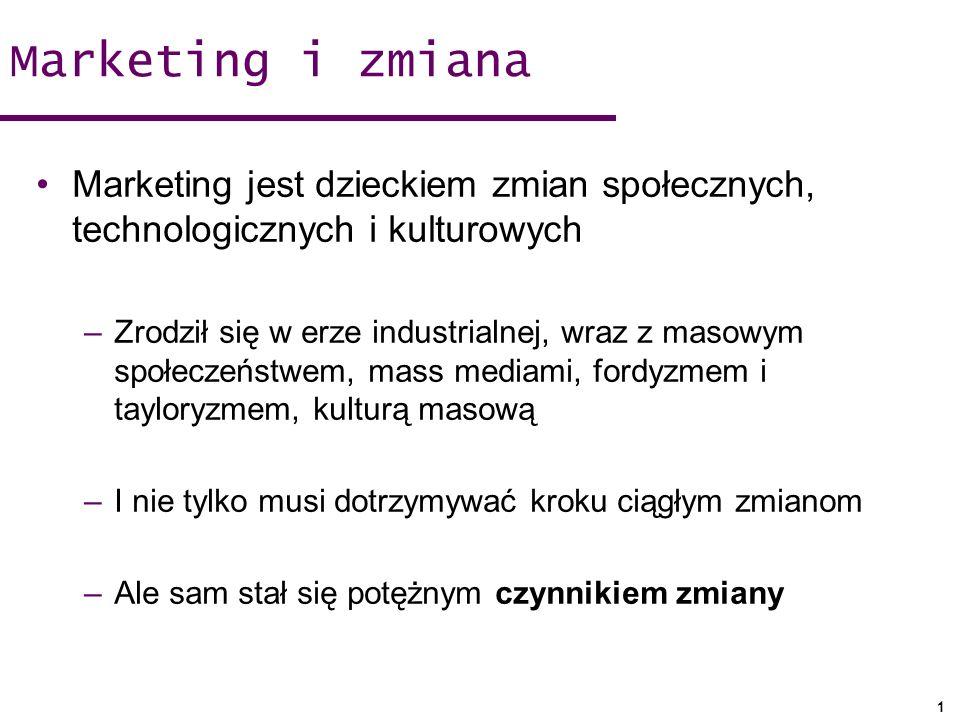 Marketing i zmiana Marketing jest dzieckiem zmian społecznych, technologicznych i kulturowych.