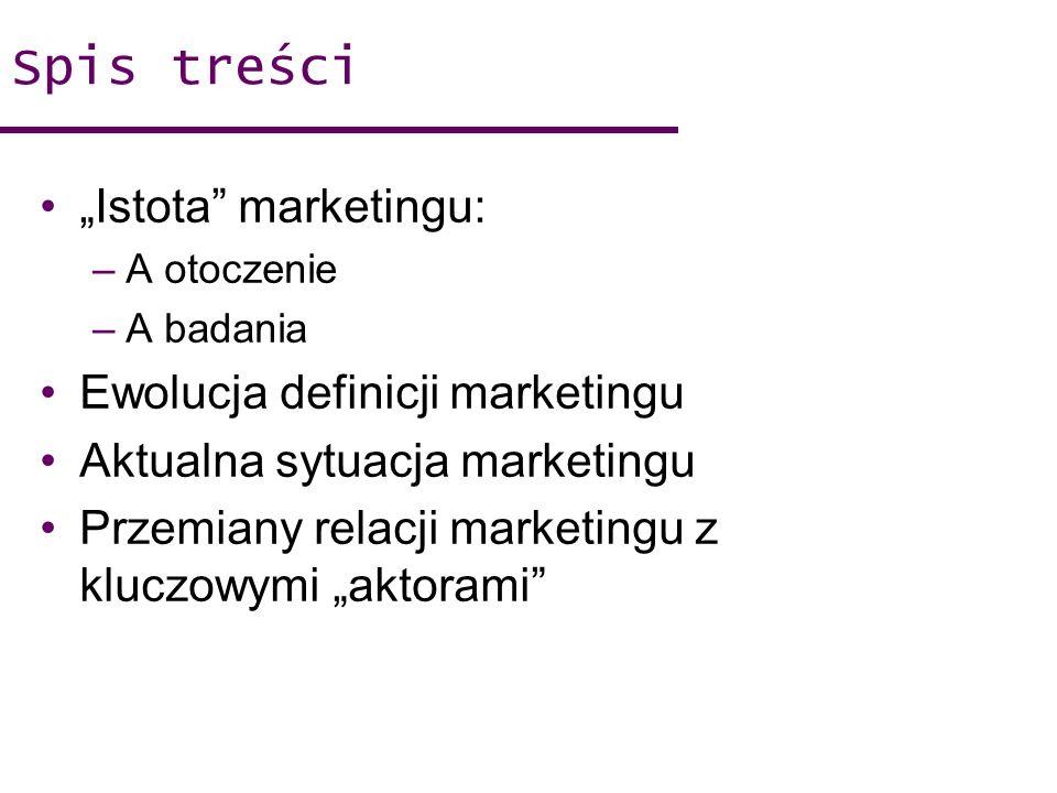 "Spis treści ""Istota marketingu: Ewolucja definicji marketingu"