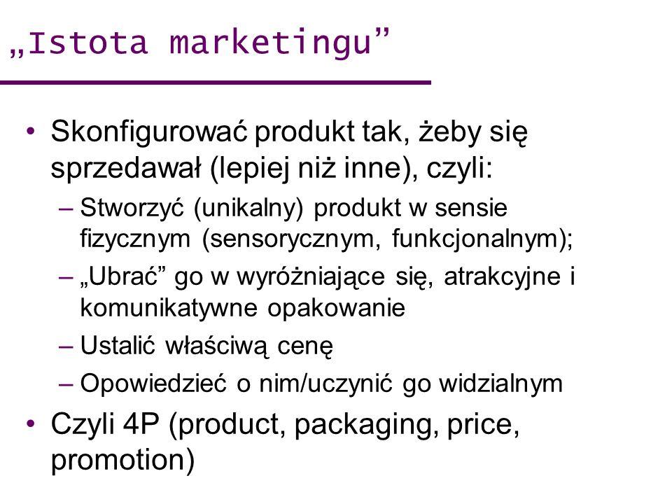 """""""Istota marketingu Skonfigurować produkt tak, żeby się sprzedawał (lepiej niż inne), czyli:"""