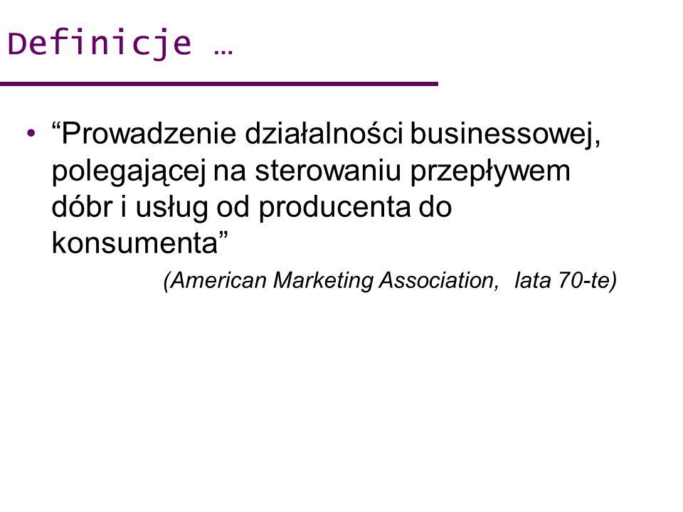 Definicje … Prowadzenie działalności businessowej, polegającej na sterowaniu przepływem dóbr i usług od producenta do konsumenta