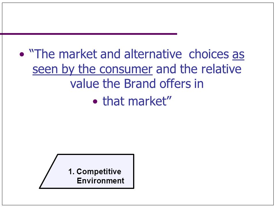 1. Competitive Environment. The market and alternative choices as seen by the consumer and the relative value the Brand offers in.