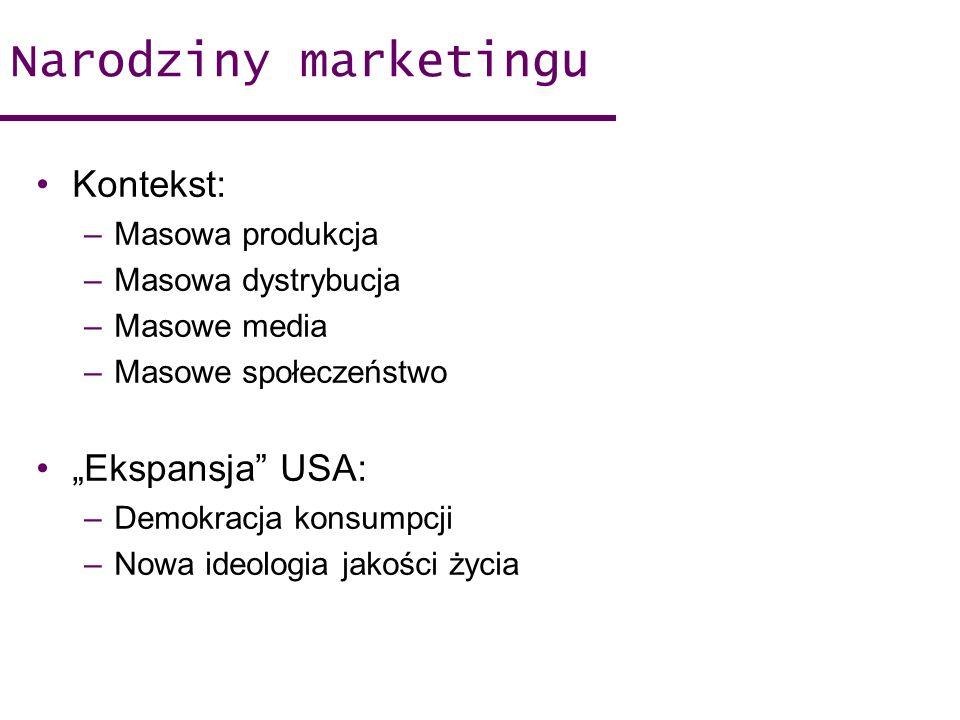 "Narodziny marketingu Kontekst: ""Ekspansja USA: Masowa produkcja"