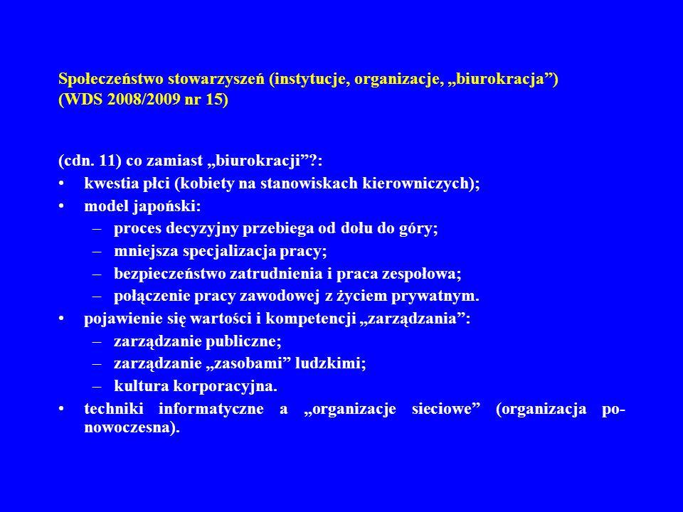 """Społeczeństwo stowarzyszeń (instytucje, organizacje, """"biurokracja ) (WDS 2008/2009 nr 15)"""