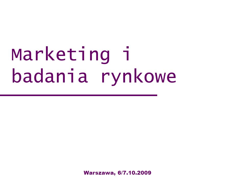 Marketing i badania rynkowe