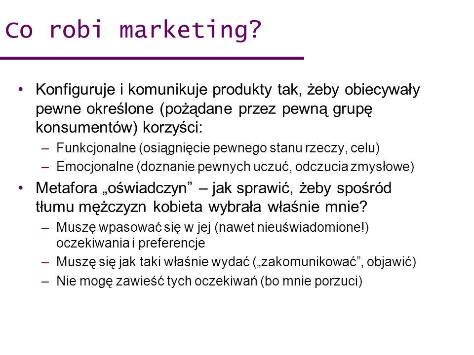 Co robi marketing Konfiguruje i komunikuje produkty tak, żeby obiecywały pewne określone (pożądane przez pewną grupę konsumentów) korzyści: