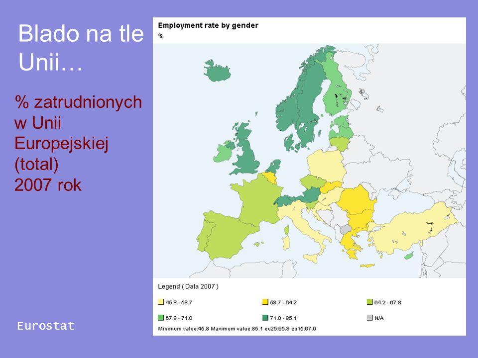 % zatrudnionych w Unii Europejskiej (total) 2007 rok