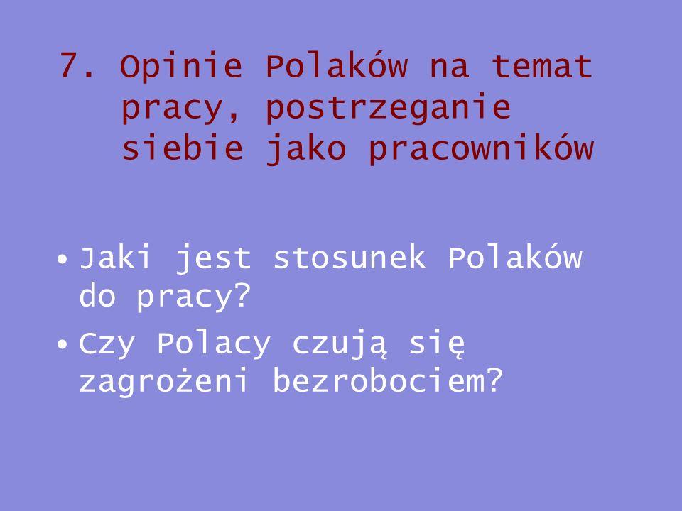 7. Opinie Polaków na temat pracy, postrzeganie siebie jako pracowników