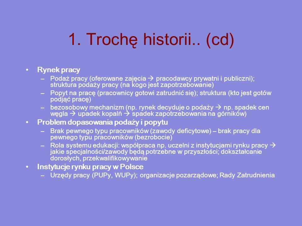 1. Trochę historii.. (cd) Rynek pracy