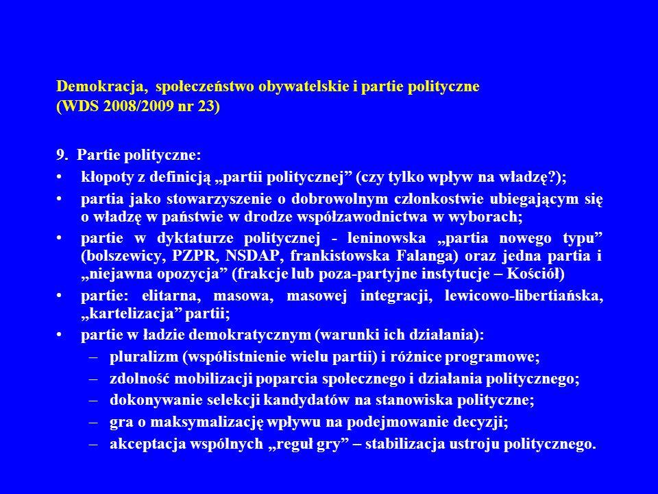 Demokracja, społeczeństwo obywatelskie i partie polityczne (WDS 2008/2009 nr 23)