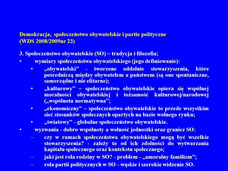 Demokracja, społeczeństwo obywatelskie i partie polityczne (WDS 2008/2009nr 23)
