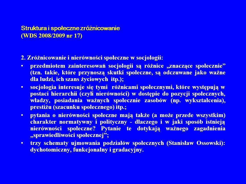 Struktura i społeczne zróżnicowanie (WDS 2008/2009 nr 17)