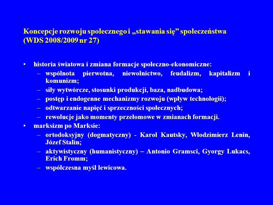 """Koncepcje rozwoju społecznego i """"stawania się społeczeństwa (WDS 2008/2009 nr 27)"""