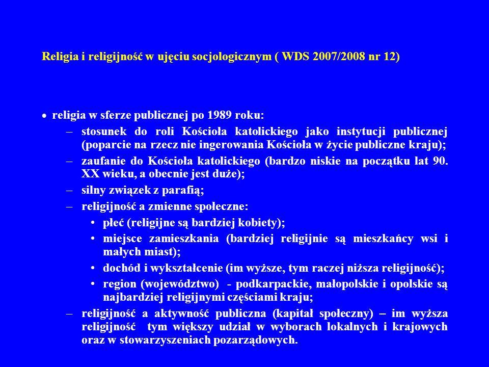 Religia i religijność w ujęciu socjologicznym ( WDS 2007/2008 nr 12)