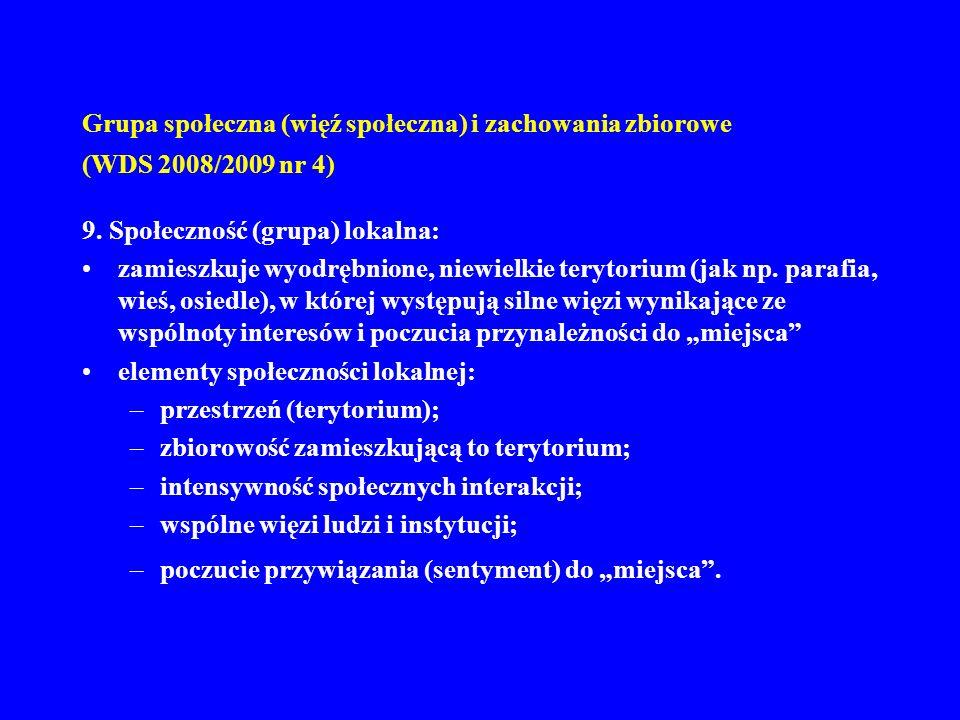Grupa społeczna (więź społeczna) i zachowania zbiorowe (WDS 2008/2009 nr 4)