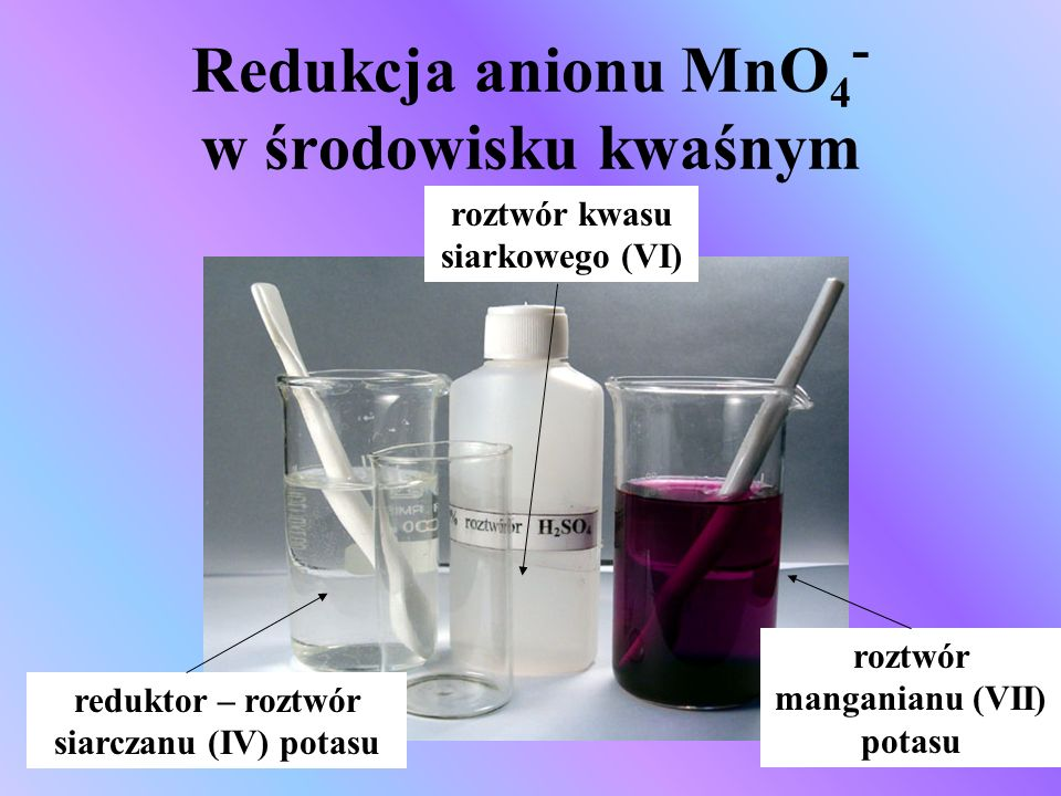 Redukcja anionu MnO4- w środowisku kwaśnym