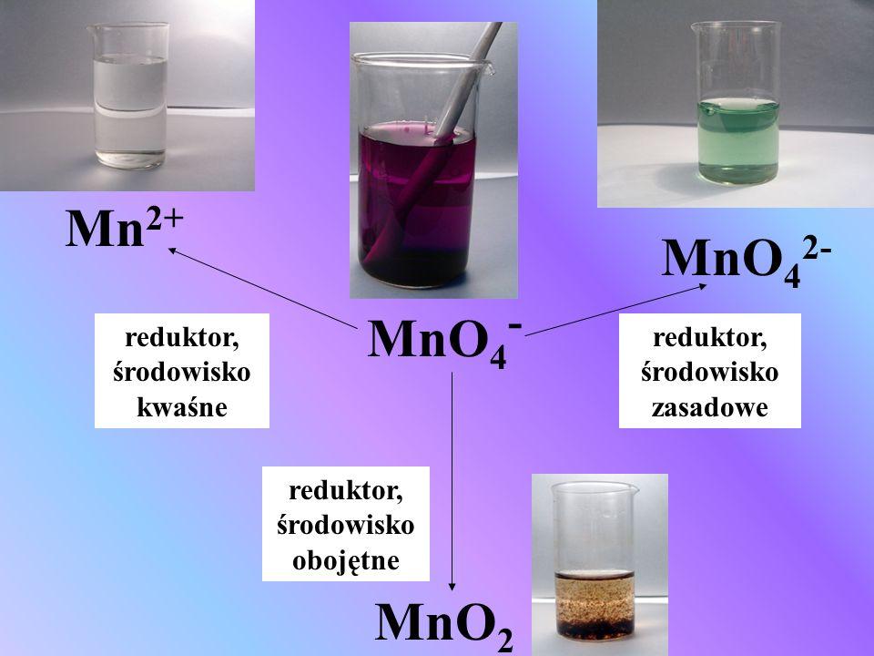 Mn2+ MnO42- MnO4- MnO2 reduktor, środowisko kwaśne