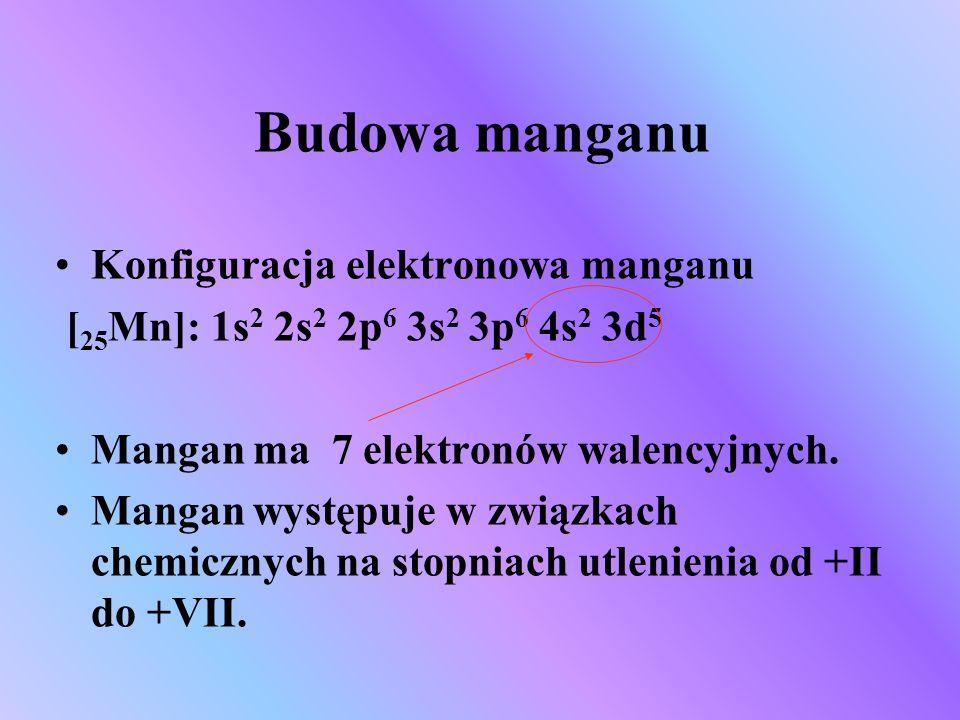 Budowa manganu Konfiguracja elektronowa manganu