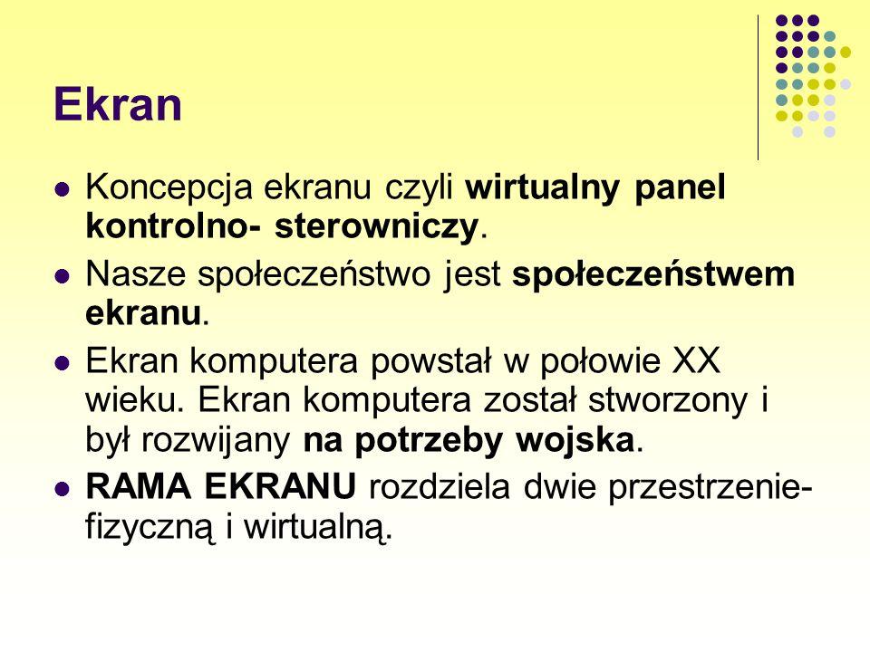 Ekran Koncepcja ekranu czyli wirtualny panel kontrolno- sterowniczy.