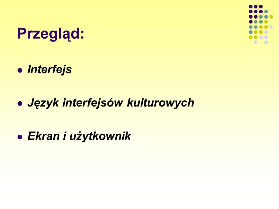 Przegląd: Interfejs Język interfejsów kulturowych Ekran i użytkownik