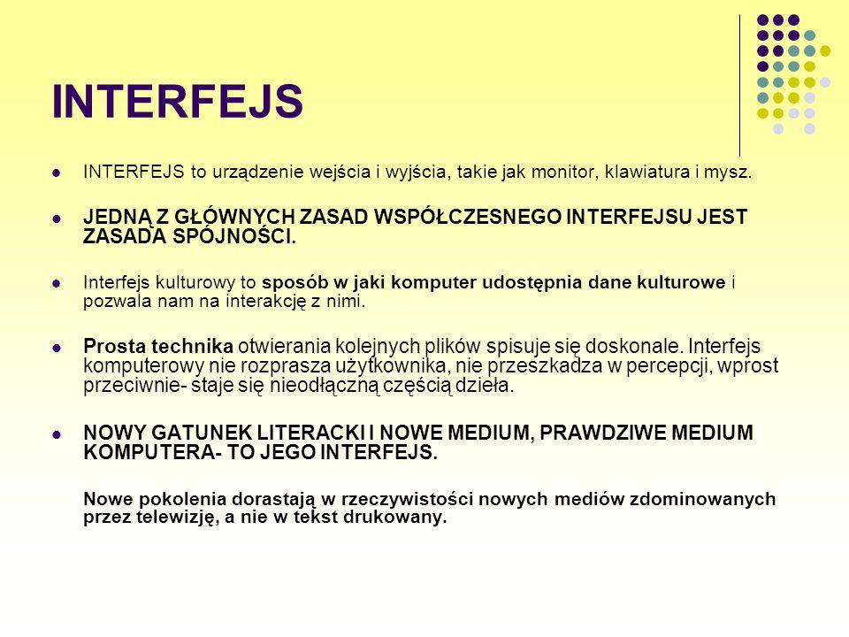 INTERFEJS INTERFEJS to urządzenie wejścia i wyjścia, takie jak monitor, klawiatura i mysz.
