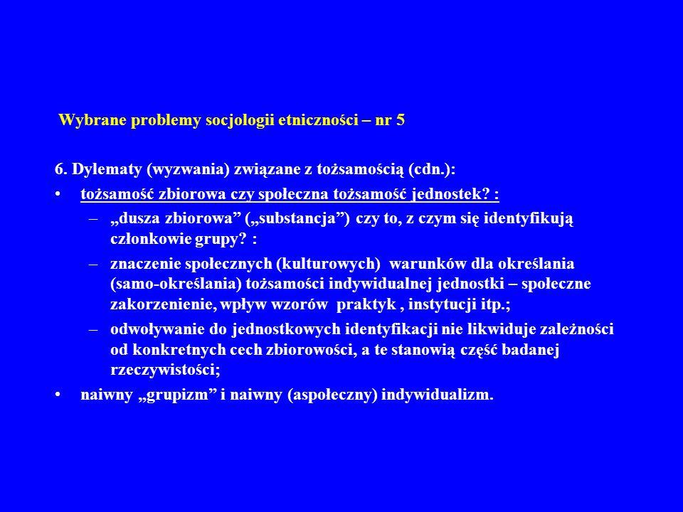 Wybrane problemy socjologii etniczności – nr 5