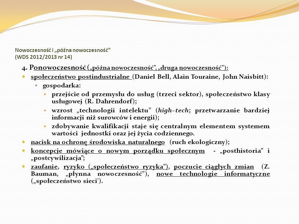 """Nowoczesność i """"późna nowoczesność (WDS 2012/2013 nr 14)"""