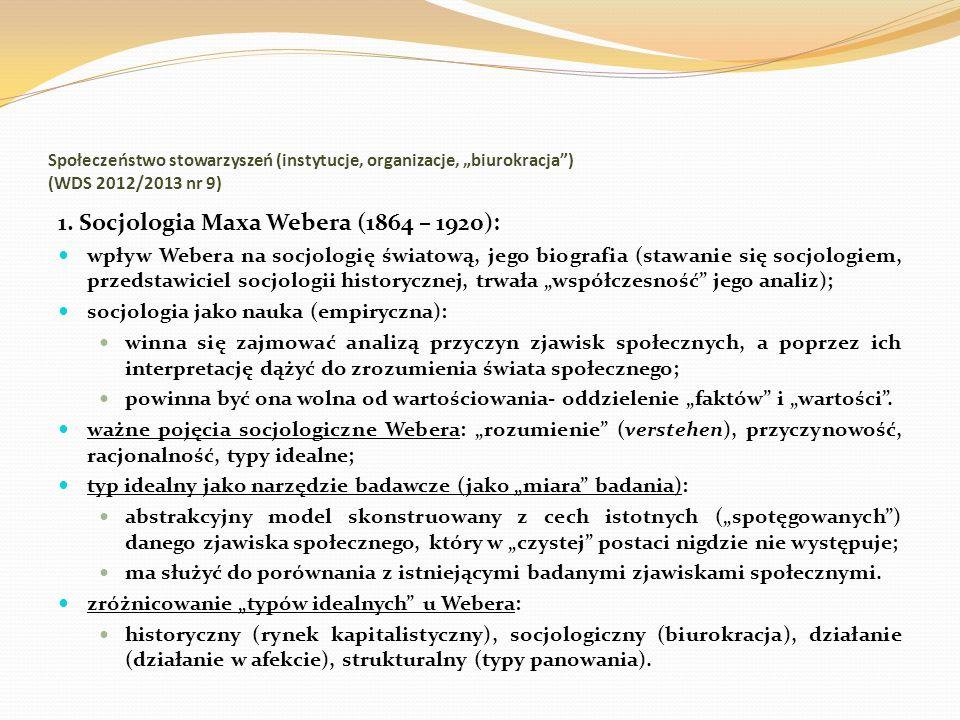 1. Socjologia Maxa Webera (1864 – 1920):