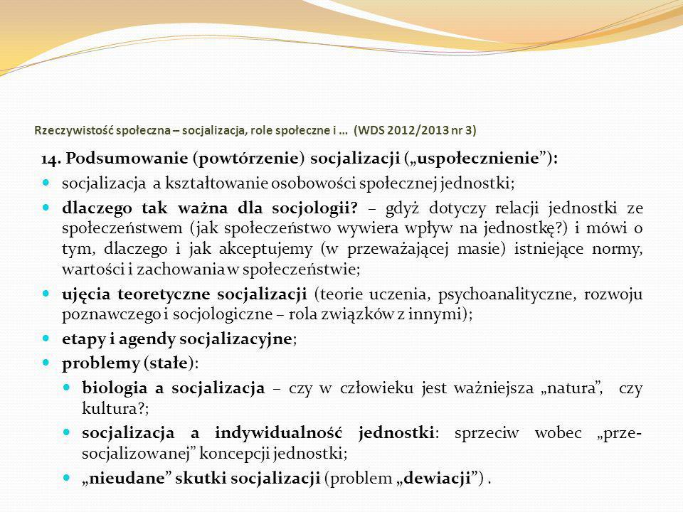 """14. Podsumowanie (powtórzenie) socjalizacji (""""uspołecznienie ):"""