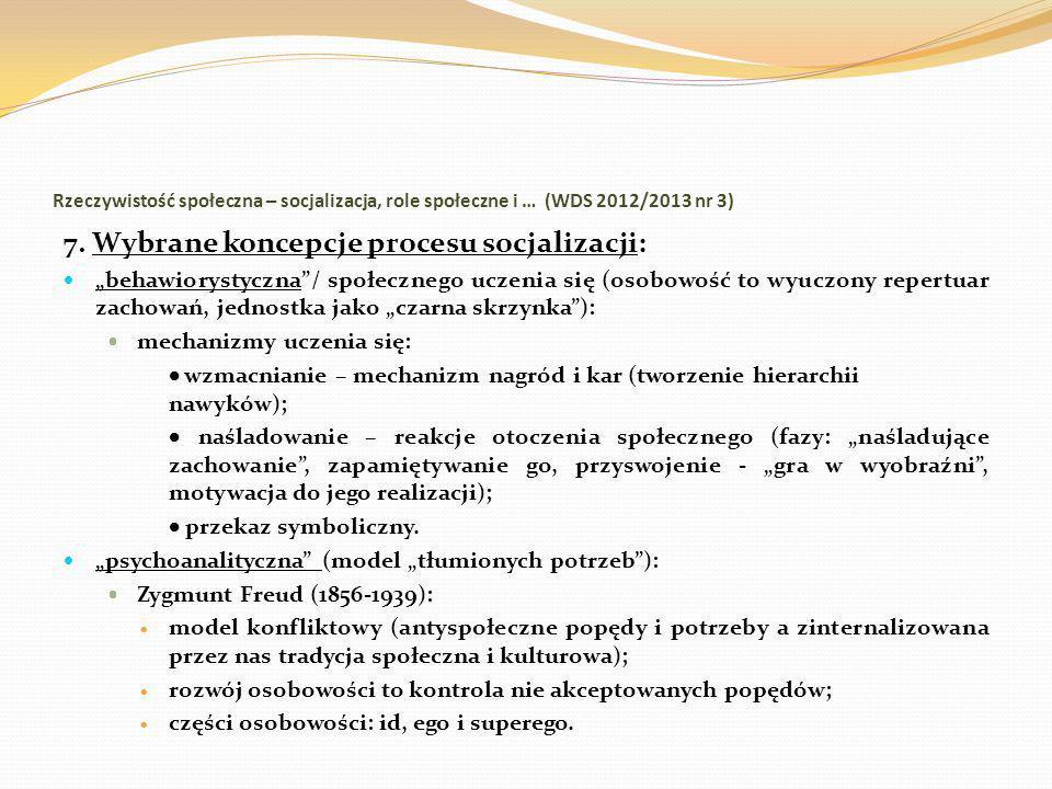 7. Wybrane koncepcje procesu socjalizacji:
