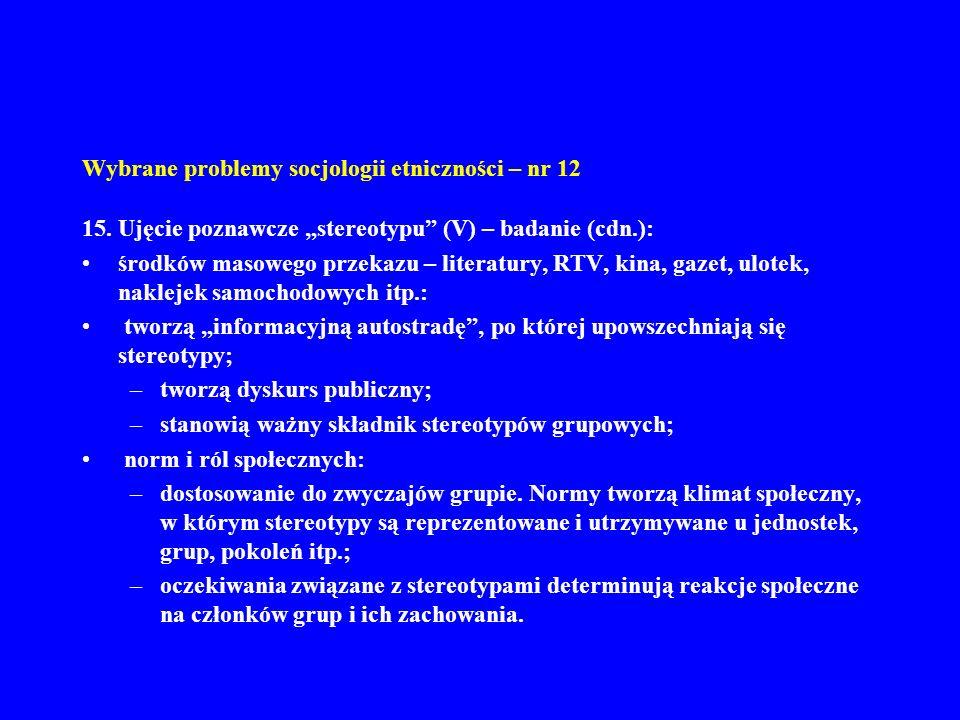 Wybrane problemy socjologii etniczności – nr 12