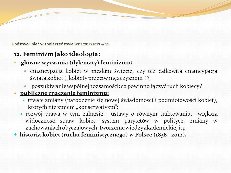 Ubóstwo i płeć w społeczeństwie WDS 2012/2013 nr 11