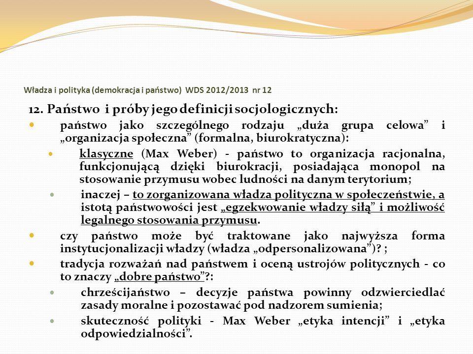 Władza i polityka (demokracja i państwo) WDS 2012/2013 nr 12