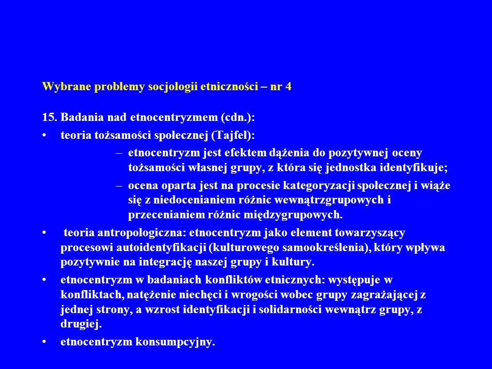 Wybrane problemy socjologii etniczności – nr 4