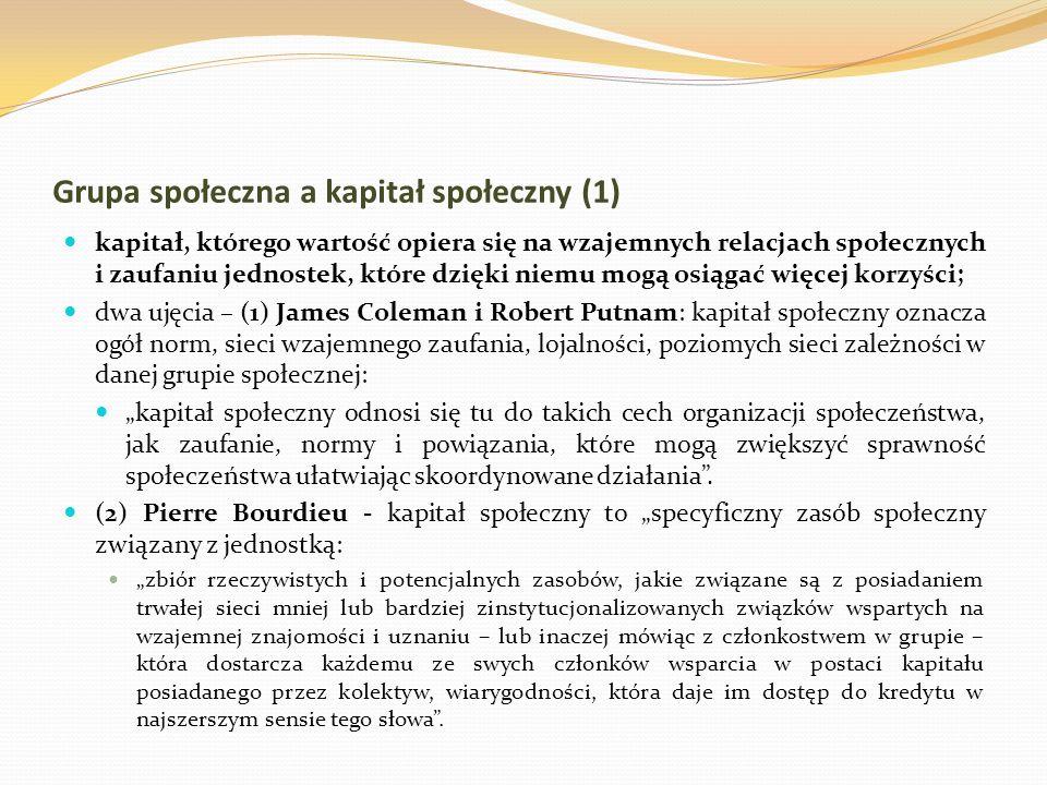 Grupa społeczna a kapitał społeczny (1)