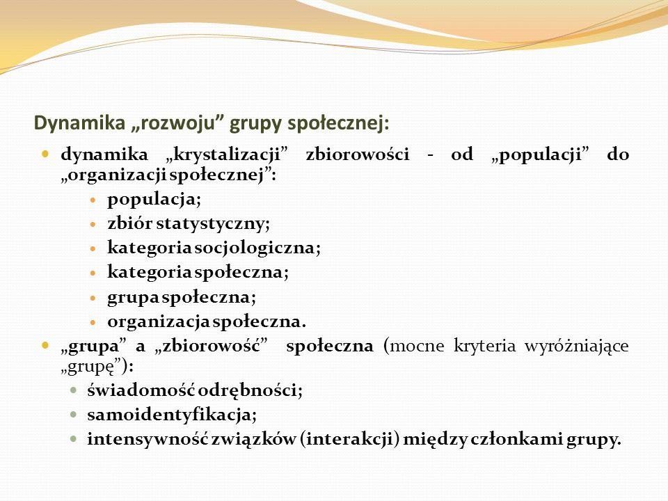 """Dynamika """"rozwoju grupy społecznej:"""
