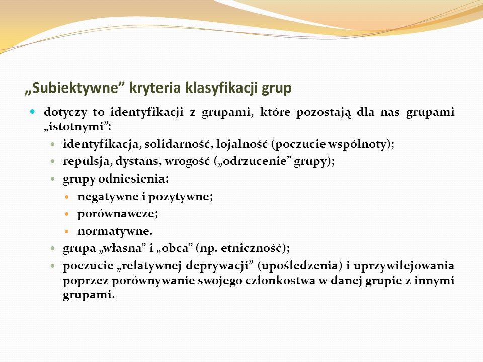 """""""Subiektywne kryteria klasyfikacji grup"""