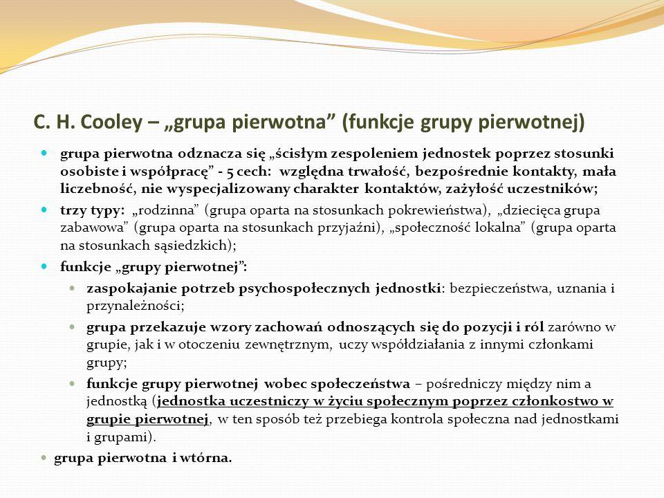 """C. H. Cooley – """"grupa pierwotna (funkcje grupy pierwotnej)"""