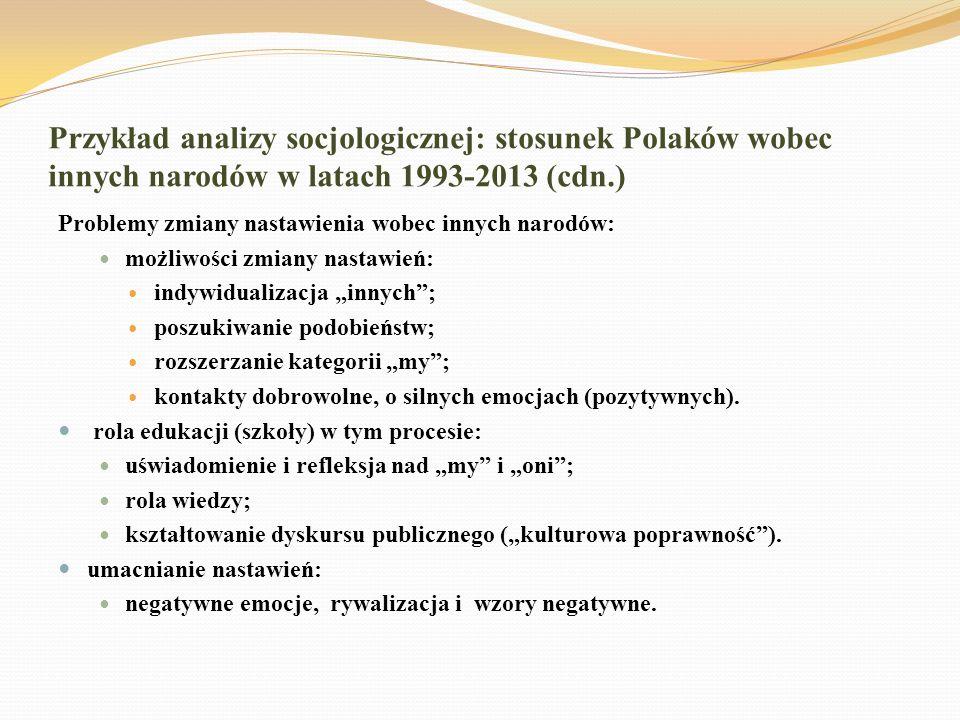 Przykład analizy socjologicznej: stosunek Polaków wobec innych narodów w latach 1993-2013 (cdn.)