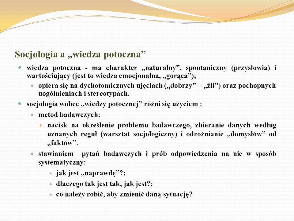 """Socjologia a """"wiedza potoczna"""